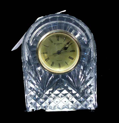 "12: HEAVY CUT CRYSTAL ""WATERFORD"" CLOCK"