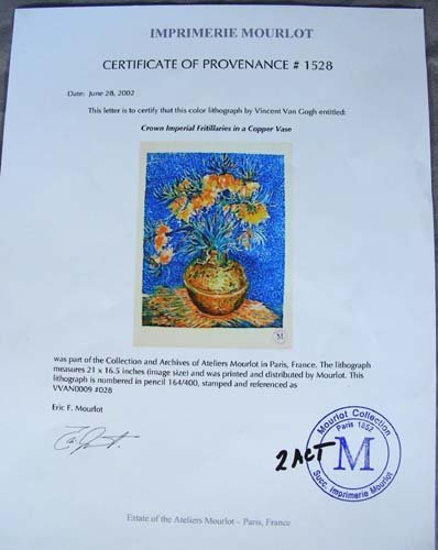 "142: COLORED LITHOGRAPH MY VINCENT VAN GOGH ""CROWN IMPE - 2"