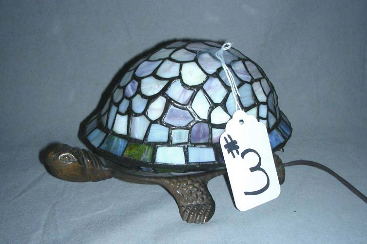"""3: LEADED GLASS AND METAL """"TURTLE"""" NIGHT LIGHT"""