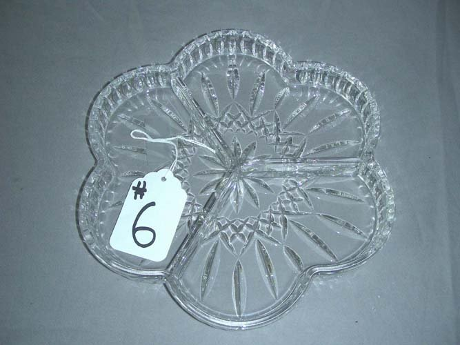 6: WATERFORD CUT CRYSTAL DIVIDED DISH