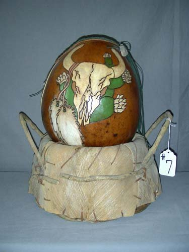 7: UNUSUAL INDIAN HAND PAINTED AND CARVED GOURD SITTING