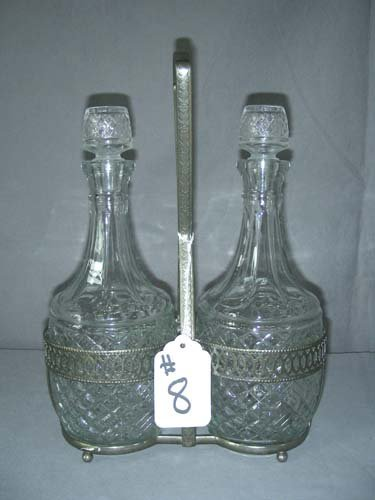 8: ENGLISH SILVER PLATED AND GLASS DECANTER SET