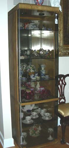 14: LARGE WOOD AND GLASS CURIO CABINET