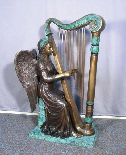 88: BRONZE SCULPTURE OF ANGEL PLAYING A HARP