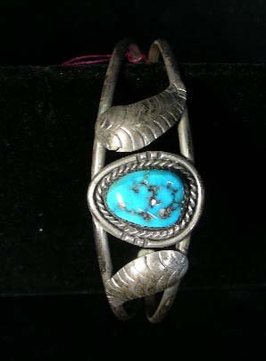 6: OLD STERLING SILVER AND TURQUOISE BANGLE BRACELET