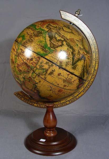 31: DECORATIVE WORLD GLOBE ON WOODEN STAND