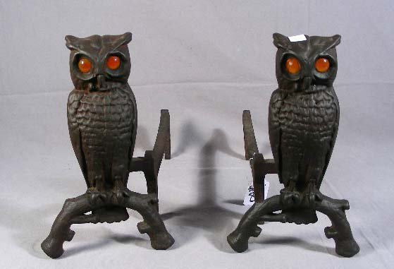 """81: PAIR 1930'S CAST IRON """"OWL"""" ANDIRONS WITH ART GLASS"""