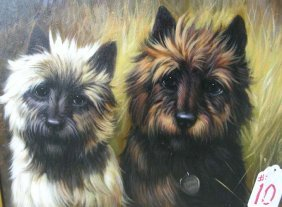 OIL OF CANVAS: TWO TERRIER PUPPIES