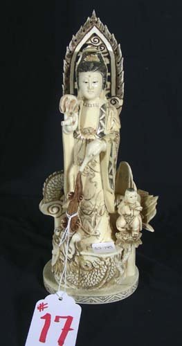 17: CHINESE HAD CARVED BONE SCULPTURE OF GEISHA WITH CH
