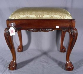 20: CHIPPENDALE STYLE HAND CARVED MAHOGANY UPHOLSTERED