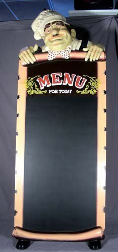 22: UNUSUAL COMPOSITION STANDING CHEF CHALKBOARD