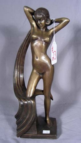 23: ART DECO STYLE BRONZE SCULPTURE OF STANDING NUD WOM