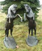 62 PAIR OF LARGE BRONZE REARING HORSE SCULPTURES