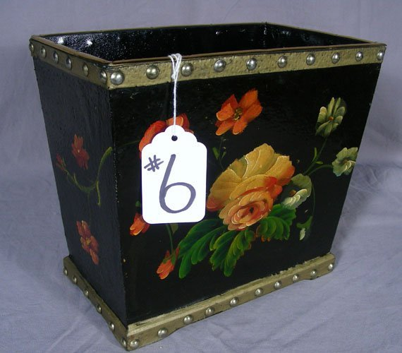 HAND PAINTED WASTE BASKET
