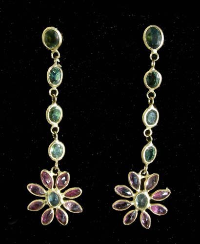 PAIR LADIES 18K YELLOW GOLD, RUBY AND TOURMALINE EARRIN