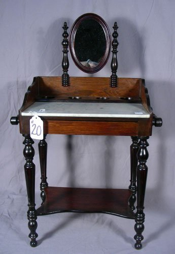 SMALL SCALE ANTIQUE CARVED WOODEN DRESSING TABEL WITH M