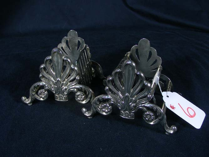 PAIR OLD SILVER PLATED ENGLISH KNIFE HOLDERS