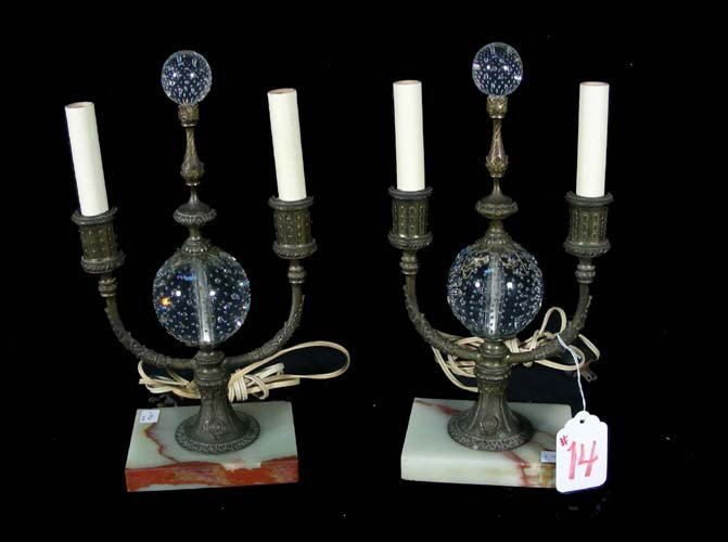 PAIR OLD PAIRPOINT METAL AND ONYX LAMPS