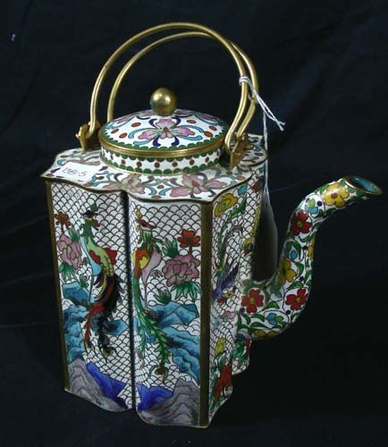 OLD CHINESE CLOISONNE TEAPOT