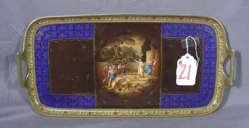 OLD HAND PAINTED ROYAL VIENNA PORCELAIN TRAY