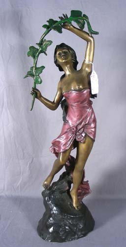 FRENCH BRONZE SCULPTURE: LADY WITH GARLAND
