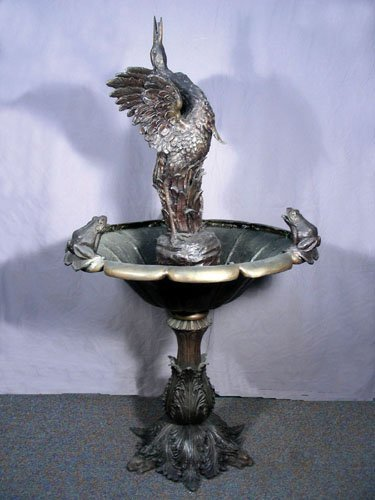VERY FINE BRONZE FOUNTAIN WITH CRANE, FROG AND RABBIT M
