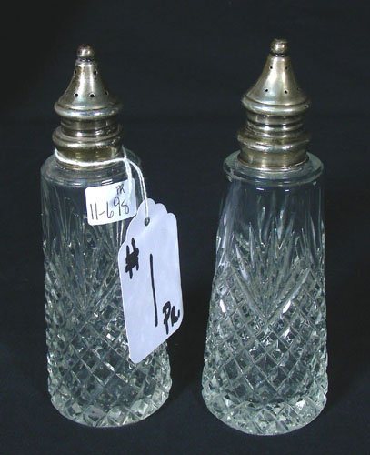 PAIR ANTIQUE CRYSTAL AND STERLING SILVER SALT & PEPPER