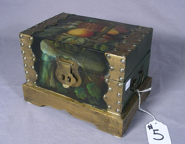 HAND PAINTED BOX WITH BRASS MOUNTS
