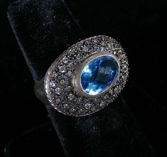 "VINTAGE STERLING SILVER, BLUE TOPAZ AND DIAMOND ""DAVID"