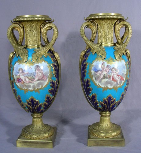 PAIR FINE 19TH CENTURY SEVRES STYLE BRONZE AND PROCELAI