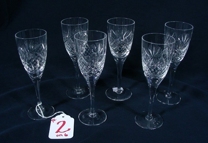 SIX CUT AND ETCHED CRYSTAL GLASSES