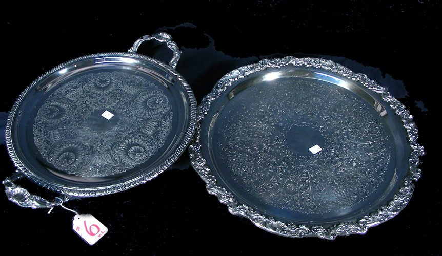 TWO OLD SILVER PLATED TRAYS