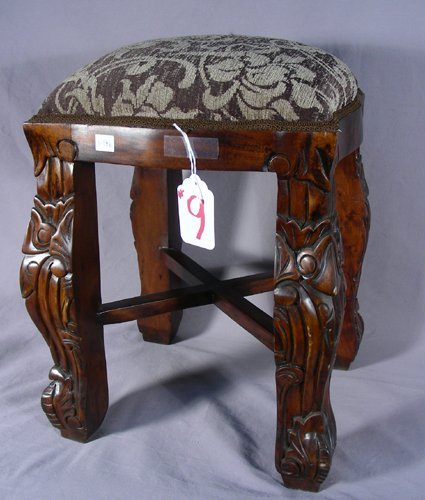 HAND CARVED MAHOGANY AND UPHOLSTERED STOOL