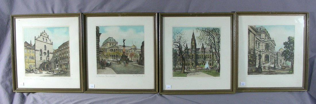 SET OF FOUR ANTIQUE COLORED ENGRAVINGS