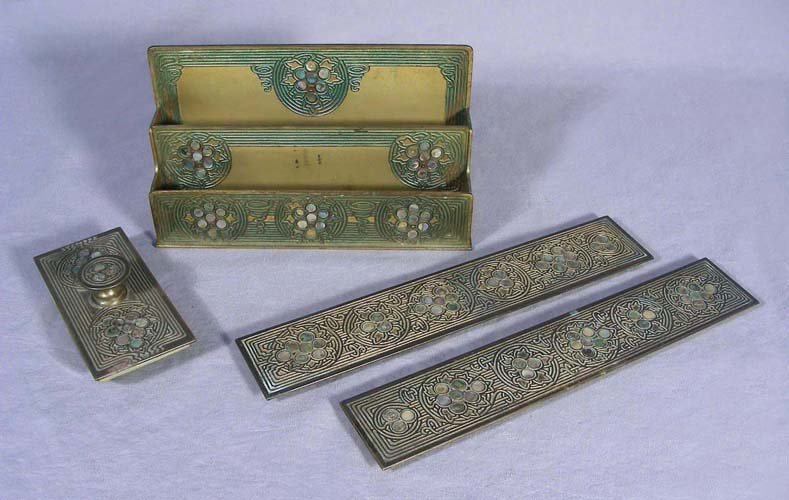 "VINTAGE ""TIFFANY STUDIOS"" FOUR PIECE BRONZE AND ABALONE"