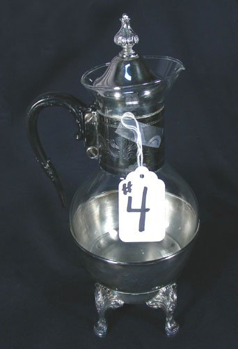 OLD GLASS AND SILVER PLATED COFFEE WARMER ON STAND