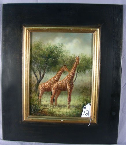 OIL ON CANVAS: TWO GIRAFFES
