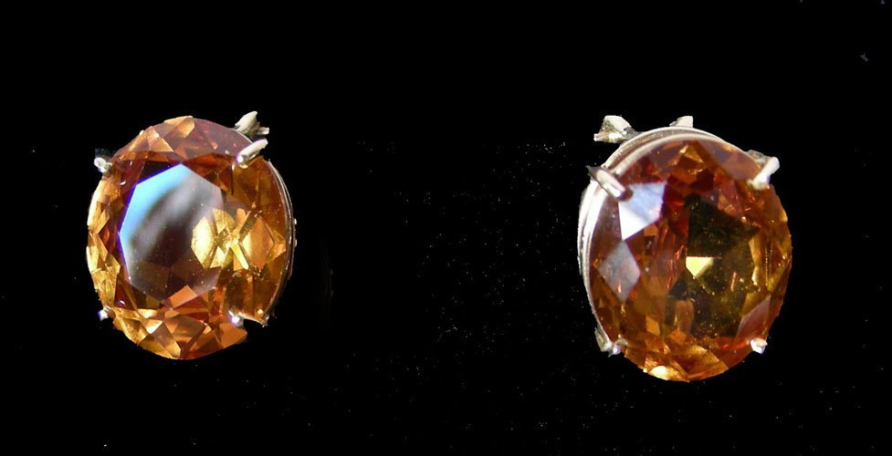 PAIR LADIES 14K YELLOW GOLD AND CITRINE EARRINGS
