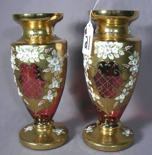 PAIR OLD HAND PAINTED CRANBERRY GLASS VASES