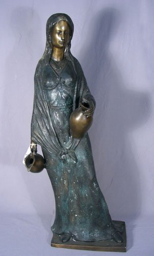 LARGE BRONZE SCULPTURE OF STANDING GIRL HOLDING URNS