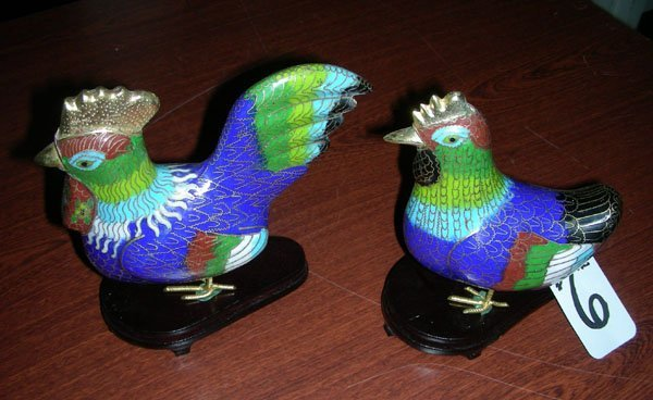 PAIR CHINESE CLOISONNE CHICKENS