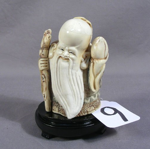 CHINESE HAND CARVED BONE WISE MAN WITH STAFF
