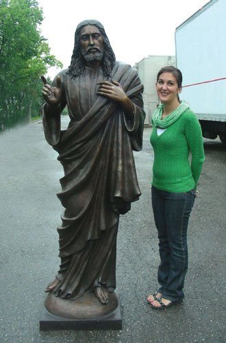 MONUMENTAL BRONZE STANDING JESUS