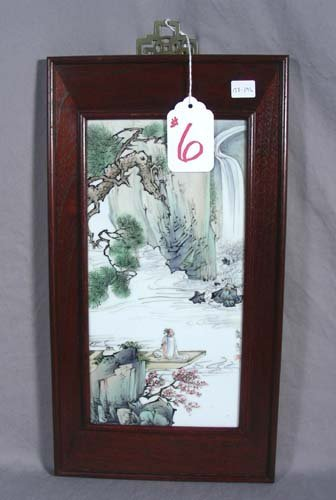 CHINESE ROSEWOOD AND PORCELAIN PLAQUE