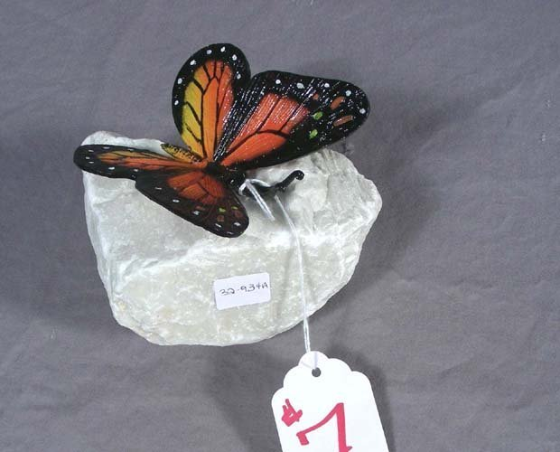 UNUSUAL BRONZE BUTTERFLY ON STONE BASE