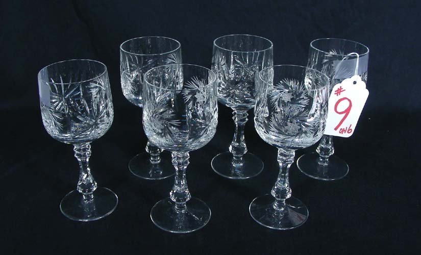 GROUP OF SIX CUT CRYSTAL CORDIALS