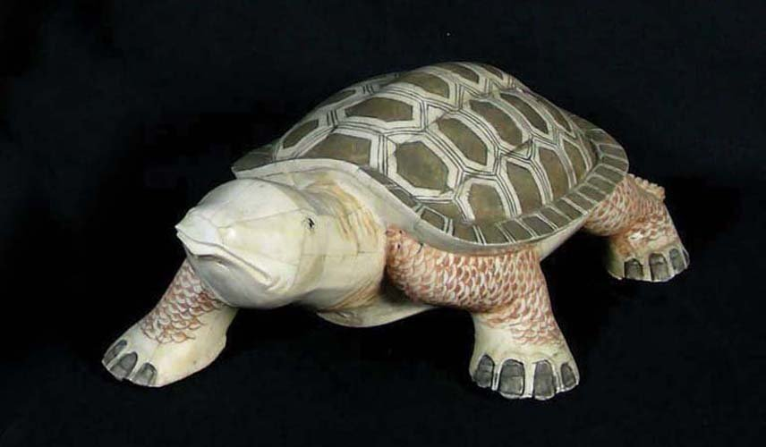 CHINESE HAND CARVED BONE SCULPTURE OF TURTLE