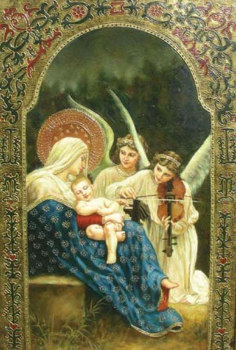 OUTSTANDING OIL ON CANVAS: MADONNA AND CHILD WITH