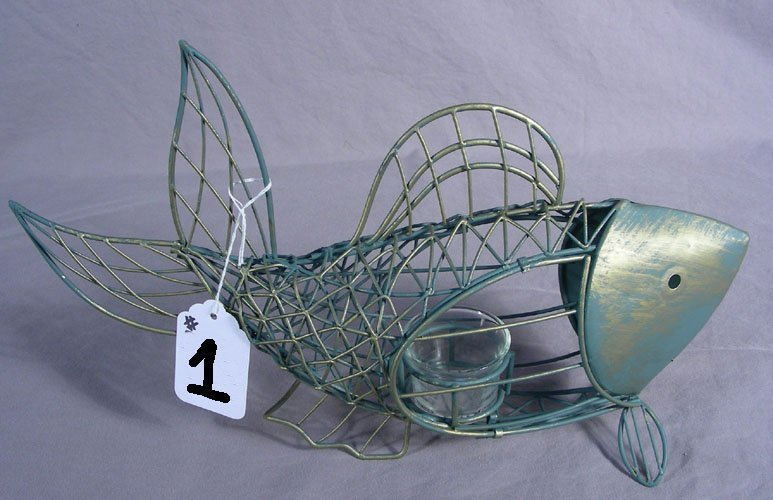 METAL FISH CANDLE HOLDER