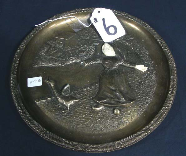 HEAVY BRONZE AND COMPOSITION PLATE